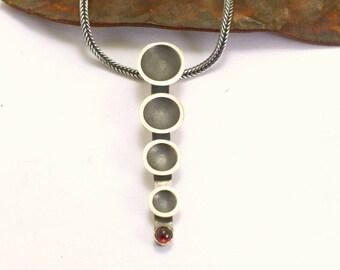 Contemporary  garnet necklace bar sterling silver oxidized matte silver modern pendant minimal necklace