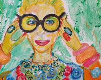 Iris Apfel Fashion Icon. Original Abstract Woman Portrait. Mixed Media . Art Gift. Home Decor .Figurative Small Painting.