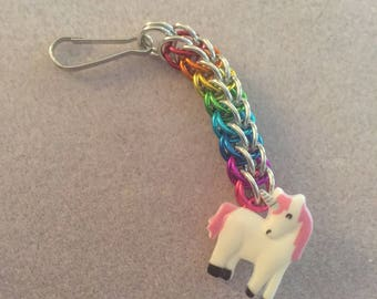 Chainmaille rainbow zipper pull with unicorn button