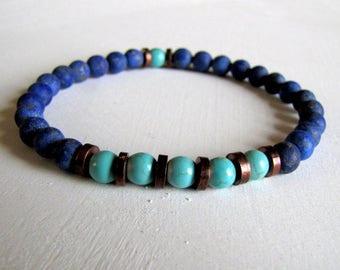 Men's Yoga Bracelet Men's Protection Bracelet Turquoise Bracelet Lapis Healing Bracelet Gift for Him Wrist Mala  Bracelet BOho Men's Gift