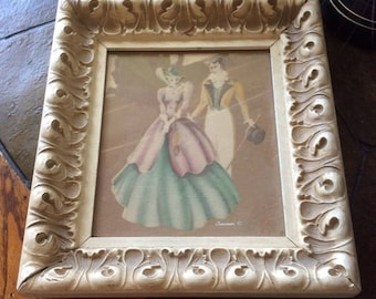 XMASinJULY Victorian clothing print marked Jurner man and woman stunning framed print check out the frame it is heavy