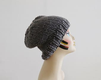 Charcoal Grey SLOUCHY BEANIE. Chunky Knit Beanie. Oversized Winter Hat. Knit Slouchy Beanie. Wool Alpaca Blend Hat. Oversized Hat. Grey Hat.