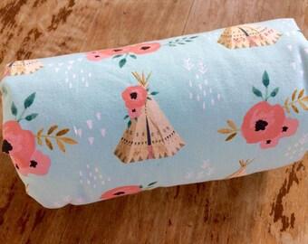 Modern Baby Blanket, Teepee, Watercolor Floral, Baby Girl, Teepee Baby Blanket