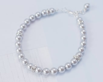 Silver Bracelet, Silver Pearl Bracelet, Silver Wedding, Grey Pearl Bracelet, Silver Bridesmaid, Grey Bridesmaid, Silver Pearls, Grey Pearls