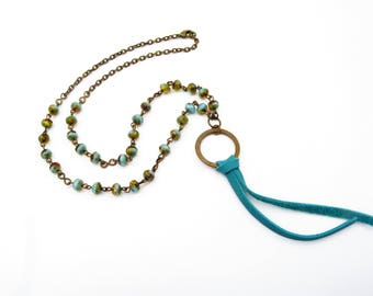Turquoise Beaded Tassel Necklace - Antique Brass, Leather, Glass