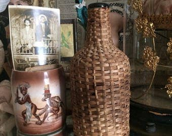 Reserved Listing I Found This Vintage Wicker Covered Bottle In Durant Oklahoma