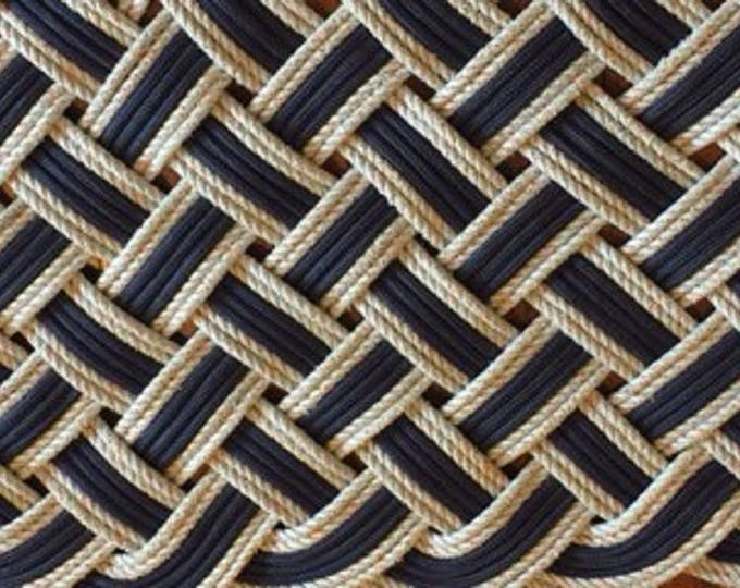 """50"""" X 20"""" Rope Rug Runner Navy and Silver Tightly Woven Nautical Doormat or Hall Runner"""