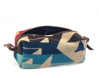 READY TO SHIP: Medium Toiletry Bag - Blues & Reds Tribal Blanket with Leather