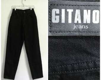"1990s deadstock high waisted black Gitano mom jeans 26 - 27"" - 2 pairs available"