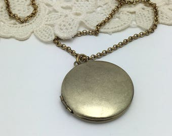 Chalkboard Locket Vintage Brass locket necklace round locket antique style locket
