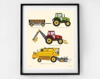 Farm machinery wall print for toddlers. Truck art perfect for boys nursery, bedrooms and playrooms. Great gifts for tractor loving boys.