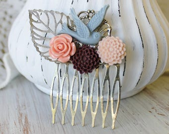 Maroon Wedding Hair Piece - Wedding Hair Comb - Blue Bridal Hair Comb - Fall Wedding Hair Accessories - Flower Hair Comb - Floral Hair Comb
