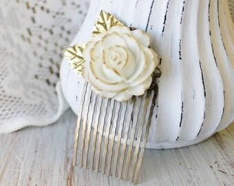 Gold Wedding Hair Piece - Wedding Hair Comb - White Bridal Hair Comb - Gold Wedding Hair Accessories - Flower Hair Comb - Floral Hair Comb