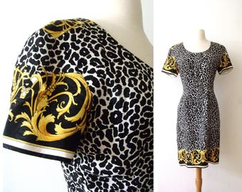 JUNGLE SONG Leopard Silk Dress ~ Bloomingdales Party Dress ~ Size:8