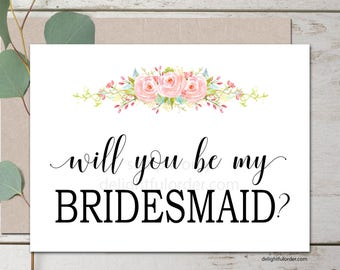 5x7 Folded Cards, Will You Be My Bridesmaid, Maid of Honor, Bridal Party, DIY Wedding, (4) PDF's, Instant Download, Printable File