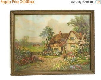 40% OFF NOW William Thompson Cottage Scene Framed Lithograph, Lithographed Print, American Artist Wm. Thompson, Thatched Cottage Print, Insc