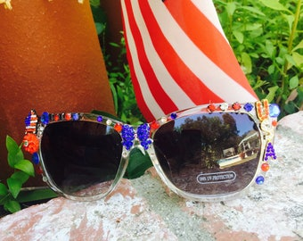 Yankee Doodle - USA Red - White - Blue - SUNGLASSEs - 4th of JULY Glam Rhinestones  - SUNNIES