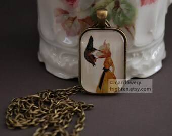 Petite Pendant Necklace, Mother's Day Gift, Nature Jewelry, Hummingbird Necklace, Wearable Art, frighten