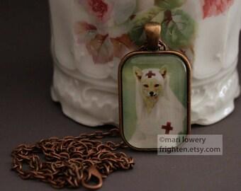 Fox Necklace, Red Cross Nurse, Petite Pendant, Nurse Gift, Unusual Jewelry, frighten