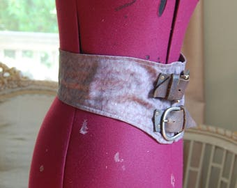 Hand dyed Belt with Rugged brown leather and buckle fairy modern victorian goth steampunk fashion 28 inches