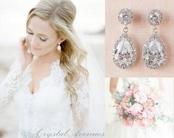 Bridal Earrings, Classic Crystal Wedding Earrings, Crystal Drop Earrings, Bridal Jewelry, Bridesmaid Wedding Jewelry, Brooke Bridal Earrings