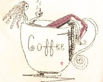 Brunette Mermaid In Coffee Cup Dish Towel  Flour Sack Dish Cloth
