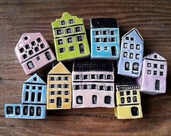 miniature ceramic houses inspired by Rainbow Row Georgian houses Charleston SC miniature house tiny house collectible souvenir pastel houses
