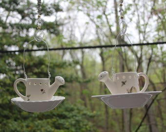 Whimsical Watering Can Ceramic Bird Feeders & Candles