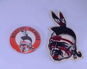 Boston Braves Hockey Team Pinback and Patch 1970's
