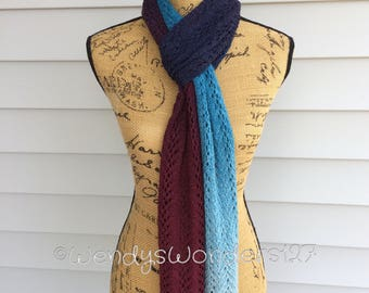 Gradient Scarf, Hand Knit Scarf, Knit Scarf, Knit Lace Scarf, Hand Knit, Lace Scarf, Gradient Color, Handmade Gifts, Gifts for her