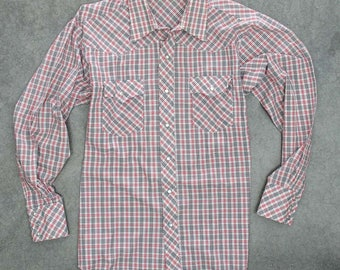 Red Black and White Plaid Men's Shirt Vintage Size XXL Button Down Top Pearlized Snaps Long Sleeve Western Double Pockets Mens 7W