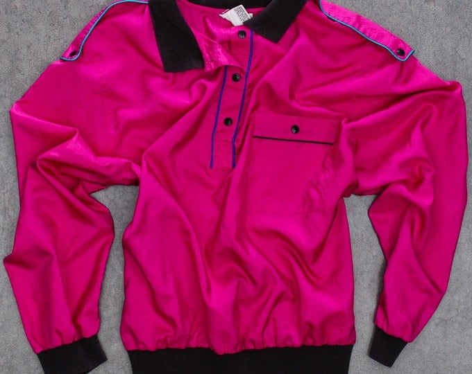 Hot Pink Pull Over Jacket Vintage Size XXL Light Weight Silky Neon Colorful Black Aqua Purple Polyester Fuchsia Womens | 7NN