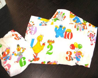 Vintage Sesame Street Twin Sheet Set/Counting Numbers Theme