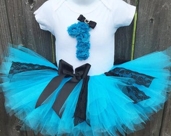 READY to SHIP Birthday Tutu Outfit | Turquoise and Black Lace First Birthday Outfit Set with Headband |  First Birthday, Second Birthday