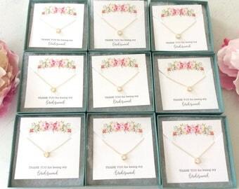 BRIDESMAID NECKLACE SET 10-20% Off, Cubic Zirconia Gold Necklace Set of 6 Bridesmaid Necklace Solitaire Necklace, Bridesmaid gifts, set of 3