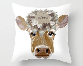 Outdoor Pillow Cover with Pillow Insert, Farmhouse Decor, Cow with Love Hat