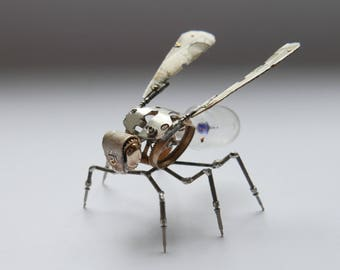 Mechanical Wasp Sculpture No 4 Hornet Bee Recycled Watch Parts Insect Figurine Stems Lightbulb Arthropod Fly Buzz Gershenson