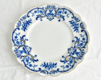 "Antique Flow Blue Plate, Grindley ""Portman"" English Collectible Dinner Plate , Scalloped Edge, Blue & White, Gold Accents."