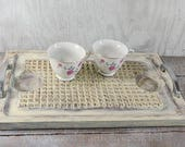 Shabby chic serving tray, serving tray, coffee table tray, ottoman tray, distressed buttermilk color