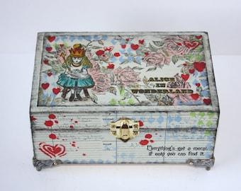Alice In Wonderland Jewellery Box, Hand Painted Trinket Box - keepsake box