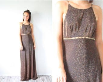 20% OFF JULY 4th SALE Vintage Cache copper brown formal dress // glitter maxi dress // Cache 90's halter high neck maxi dress // ball gown /