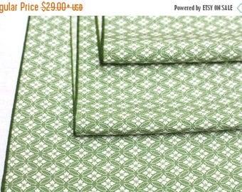 SALE Vintage Japanese Edokomon Silk. Artisan Kimono Fabric. Green White (Ref: 1615)