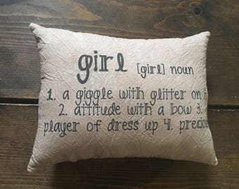 Girl - daughter- neice - definition accent pillow