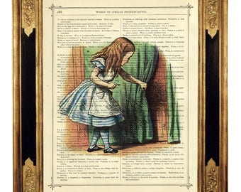 Alice in Wonderland The Door Knob Curtain - Vintage Victorian Book Page Art Print Steampunk Color Colour Poster