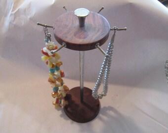 vintage wood chrome jewelry rack mid century gorgeous wood