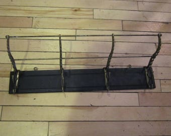 farm house antique coat hat rack wall mount wood and iron