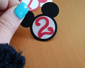 Mickey/Minnie bag tags/bottle tags first birthday/babyshower