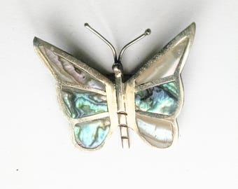 Butterfly Pin Brooch Mexican Silver Abalone Inlay Rainbow Colors Jewel Tones Vintage Garden Wedding Jewelry Jewellery Gift Guide Women