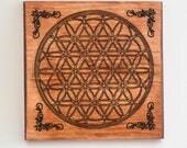 Wooden Crystal Grid - Flower of Life - Sacred Geometry - Crystal Layout - Crystal Healing - Meditation - Grid Template - Manifestation