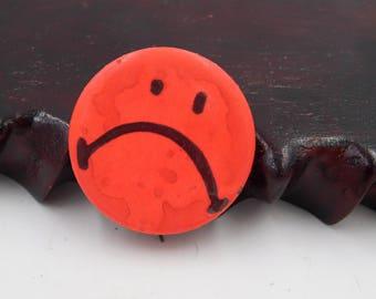 Vintage Anti-Smiley Sad Face Unhappy  Pin Pinback Button      Dr23